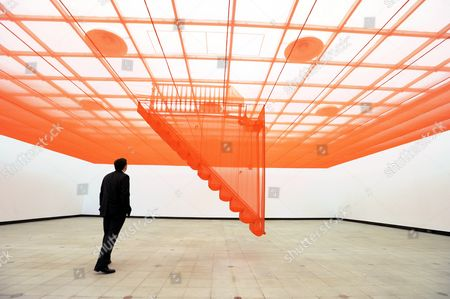 Installation titled Staircase - V (2003) by artist Do Ho Suh