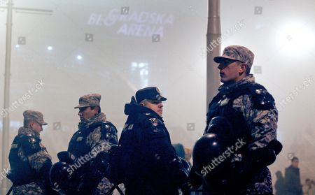 Policemen Stand Guard Before the Concert of Bosnian Pop Star Dino Merlin in Belgrade Serbia 25 November 2011 This was Dino Merlin's First Concert in Belgrade Since the Conflict in Former Yugoslavia Erupted Heavy Security Measures Were Put in Place After Serbian Ultra-nationalists Called on the Serbian Audience to Boycott the Event Serbia and Montenegro Belgrade