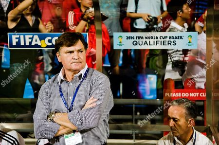 Chinese National Soccer Team's Spanish Head Coach Jose Antonio Camacho (l) is Seen Before the Fifa World Cup 2014 Asian Zone Qualifying Soccer Match Between Singapore and China at Jalan Besar Stadium in Singapore 15 November 2011 China Won 4-0 Singapore Singapore