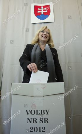 Slovak Prime Minister Iveta Radicova Casts Her Ballot Papers in a Polling Station in Nova Dedinka Near Bratislava Slovakia During Early Elections on 10 March 2012 Slovakian Parliamentary Elections Began Saturday in a Climate of Public Anger Over Corruption Allegations Against Politicians Media Reports State That Opinion Polls See Former Prime Minister Robert Fico's Smer Social Democrats Poised to Heavily Defeat the Center-right Sdku Party's Outgoing Prime Minister Iveta Radicova Slovakia (slovak Republic) Bratislava