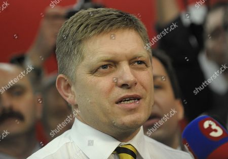 Leader of the Smer Social Democracy Party Robert Fico is Seen Inside Smer Social Democracy Party Headquarter in Bratislava Slovakia During Early Elections on 10 March 2012 Slovakian Parliamentary Elections Began Saturday in a Climate of Public Anger Over Corruption Allegations Against Politicians Media Reports State That Opinion Polls See Former Prime Minister Robert Fico's Smer Social Democrats Poised to Heavily Defeat the Center-right Sdku Party's Outgoing Prime Minister Iveta Radicova Slovakia (slovak Republic) Bratislava