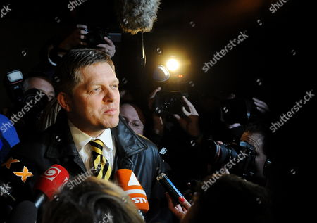 Leader of the Smer Social Democracy Party Robert Fico is Seen As He Arrives to Smer Social Democracy Party Headquarter in Bratislava Slovakia During Early Elections on 10 March 2012 Slovakian Parliamentary Elections Began on March 10 in a Climate of Public Anger Over Corruption Allegations Against Politicians Media Reports State That Opinion Polls See Former Prime Minister Robert Fico's Smer Social Democrats Poised to Heavily Defeat the Center-right Sdku Party's Outgoing Prime Minister Iveta Radicova Slovakia (slovak Republic) Bratislava