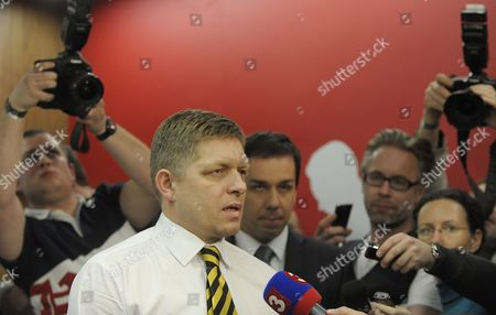 Leader of the Smer Social Democracy Party Robert Fico Talks to the Media After First Exit Polls in Front of Smer Social Democracy Party Headquarter in Bratislava Slovakia During Early Elections on 10 March 2012 Slovakian Parliamentary Elections Began Saturday in a Climate of Public Anger Over Corruption Allegations Against Politicians Media Reports State That Opinion Polls See Former Prime Minister Robert Fico's Smer Social Democrats Poised to Heavily Defeat the Center-right Sdku Party's Outgoing Prime Minister Iveta Radicova Slovakia (slovak Republic) Bratislava