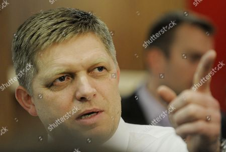 Leader of the Smer Social Democracy Party Robert Fico is Seen Inside Smer Social Democracy Party Headquarter in Bratislava Slovakia During Early Elections on 10 March 2012 Slovakian Parliamentary Elections Began on March 10 in a Climate of Public Anger Over Corruption Allegations Against Politicians Media Reports State That Opinion Polls See Former Prime Minister Robert Fico's Smer Social Democrats Poised to Heavily Defeat the Center-right Sdku Party's Outgoing Prime Minister Iveta Radicova Slovakia (slovak Republic) Bratislava