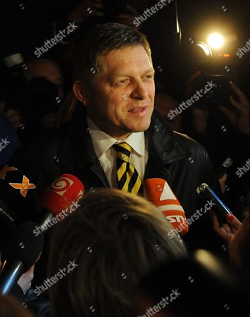Leader of the Smer Social Democracy Party Robert Fico Talksto the Media After First Exit Polls in Front of Smer Social Democracy Party Headquarter in Bratislava Slovakia During Early Elections on 10 March 2012 Slovakian Parliamentary Elections Began Saturday in a Climate of Public Anger Over Corruption Allegations Against Politicians Media Reports State That Opinion Polls See Former Prime Minister Robert Fico's Smer Social Democrats Poised to Heavily Defeat the Center-right Sdku Party's Outgoing Prime Minister Iveta Radicova Slovakia (slovak Republic) Bratislava