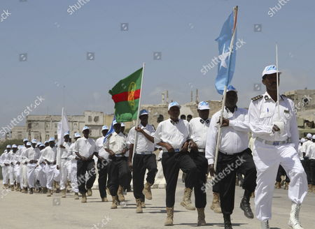 Somalia's Maritime Security Forces March During Its 50th Anniversary Celebration in the Capital Mogadishu Somalia 10 February 2012 in a Video Released on 09 February by the Site Intelligence Group Al-shabab Leader Ahmed Abdi Godane Also Known As Mukhtar Abu Zubair Said the Group Pledged Obedience to Al-qaeda Chief Ayman Al-zawahiri and the Two Groups Have Merged Somalia Mogadishu