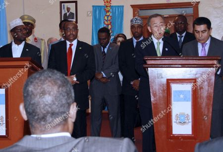 The Un Secretary-general Ban Ki-moon (2-r) Speaks During a Press Conference with the President of Somalia Sheikh Sharif Ahmed (l) Prime Minister Abdiweli Mohamed Ali (2-l) and the President of the Un General Assembly Nassir Abdulaziz Al-nasser (r) in Mogadishu Somalia 09 December 2011 Ban Announced That the Un Office For Somalia Will Relocate to Mogadishu From Kenya Next Year a Move Seen As a Sign of Recent Security Gains in Mogadishu Somalia Mogadishu