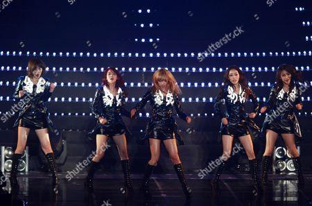 South Korean Girl Group Kara Members (l-r) Kang Ji-young Han Seung-yeon Nicole Goo Ha-ra and Park Gyuri Perform Onstage During a Concert at the Olympic Park Gymnastics Stadium in Seoul South Korea 18 February 2012 Korea, Republic of Seoul