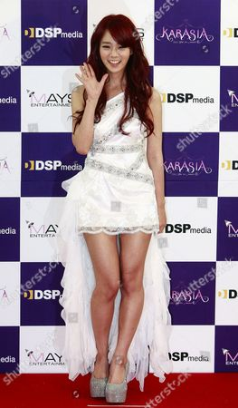 South Korean Girl Group Kara Member Han Seung-yeon Poses For Photographs During a Press Conference Prior to Their Concert at the Olympic Park Gymnastics Stadium in Seoul South Korea 18 February 2012 Korea, Republic of Seoul
