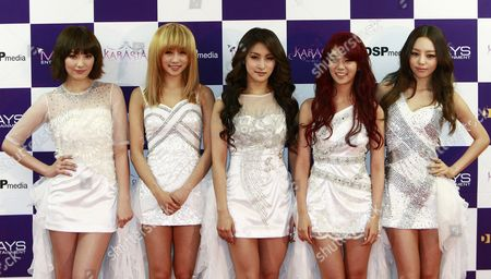 South Korean Girl Group Kara Members (l-r) Kang Ji-young Nicole Park Gyuri Han Seung-yeon and Goo Ha-ra Pose For Photographs During a Press Conference Prior to Their Concert at the Olympic Park Gymnastics Stadium in Seoul South Korea 18 February 2012 Korea, Republic of Seoul