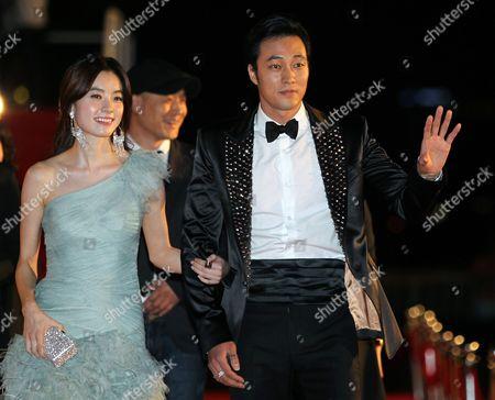 South Korean Actors So Ji Sub (r) and Hun Hyo Joo (l) Arrive For the Hua Hin International Film Festival 2012 in the Coastal City of Hua Hin Thailand 27 January 2012 the Film Festival Runs From 26 to 29 January Thailand Hua Hin