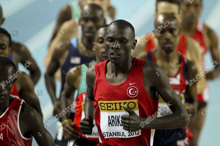 Polat Kemboi Arikan of Turkey Competes in Heat 2 of the Men's 3000m at the Athletics World Indoor Championships at Atakoy Athletics Arena in Istanbul Turkey 09 March 2012 Turkey Istanbul