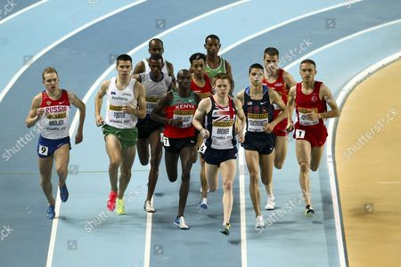 James Brewer of Great Britain (c)competes During the Men's 1500m Heat at the Athletics World Indoor Championships at Atakoy Athletics Arena in Istanbul Turkey 09 March 2012 Turkey Istanbul