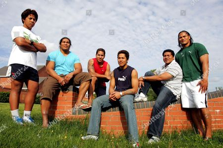 The Tuilagi brothers from Samoa. From left to right Manusamoa (Manu, 15yrs), Henry (29yrs), Anitelea (Andy, 19yrs), Vavae (17yrs), Fereti (Freddie, 34yrs) and Alesana (Alex, 25yrs).