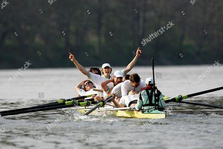 Stock Photo of The 153rd Boat Race, Oxford University v Cambridge University, Putney, London - Jacob Cornelius celebrates as Cambridge win the race.