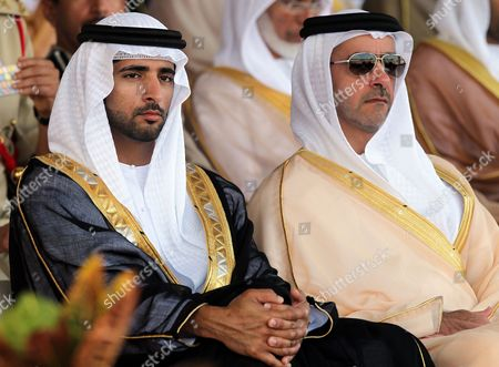 His Highness Sheikh Hamdan Bin Mohammed Bin Rashid Al Maktoum(l) Crown Prince of Dubai and Chairman of Dubai Executive Council and Lieutenant General Sheikh Saif Bin Zayed Al Nahyan(r) Deputy Prime Minister and Minister of Interior and Vice Chairman of the Emirates Identity Authority Attend a Police Graduation Ceremony at Dubai Police Academy in Emirate Gulf of Dubai United Arab Emirates 30 November 2011 Dubai Police Academy Celebrated the Graduation of the 19th Batch of 130 Cadets of Candidates in Addition to the Graduation of Students at the Academy Masters and Phd Holders United Arab Emirates Dubai