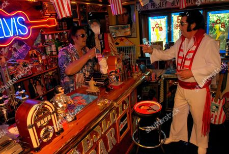 John Turner in the Bar with an Elvis Lookalike