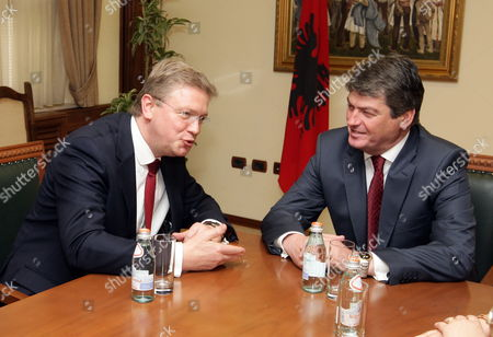 Commissioner For Enlargement and European Neighbourhood Policy Stefan Fule (l) and Albanian President Bamir Topi (r) During Talks on His One-day Official Visit in Tirana Albania 03 May 2012 Fule Will Discuss Reform Efforts and Progress in the Eu Agenda with His Albanian Counterparts Albania Tirana