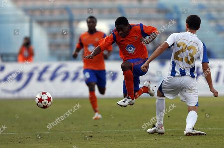 Stock Picture of Julian Ahmataj (r) of Kf Tirana Vies For the Ball with Jason Morrison of Aalesund Fk During Their Uefa Europa League Second Round Qualifying First Leg Soccer Match in Tirana Albania 19 July 2012 Albania Tirana