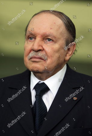 Algerian President Abdelaziz Bouteflika Looks on After His Meeting with Chairman of Libya's National Transitional Council (ntc) Mustafa Abdul Jalil (not Pictured) at the Presidencial Palace in Algiers Algeria 16 April 2012 Abdul Jalil is on His Second Day Official Visit in Algeria Algeria Algiers