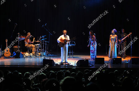 Stock Image of Congolese Singer Lokua Kanza (2nd L) Performs During the 13th Edition of the European Cultural Festival in Algiers Algeria 29 May 2012 the Festival Runs Until 31 May Algeria Algiers
