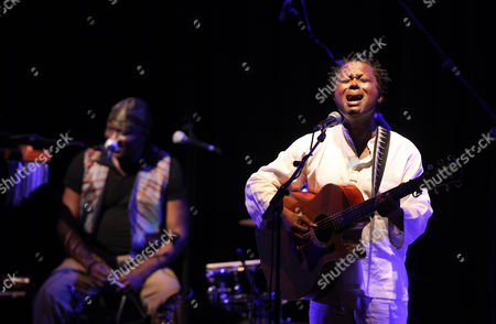 Stock Photo of Congolese Singer Lokua Kanza (l) Performs During the 13th Edition of the European Cultural Festival in Algiers Algeria 29 May 2012 the Festival Runs Until 31 May Algeria Algiers
