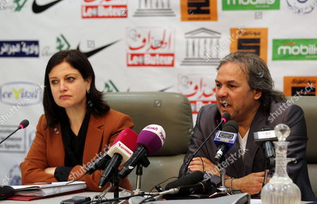 Algerian Former Soccer Player and Unesco Goodwill Ambassador Rabah Madjer (r) with Unesco Representative Pilar Alvarez-laso (l) Give a Press Conference on 23 April 2012 in Algiers Algeria Ahead of a Football Charity Match For Children of Africa Between Former Algerian Football Stars and Former International Players This Evening in the Algerian Capital Algeria Alger