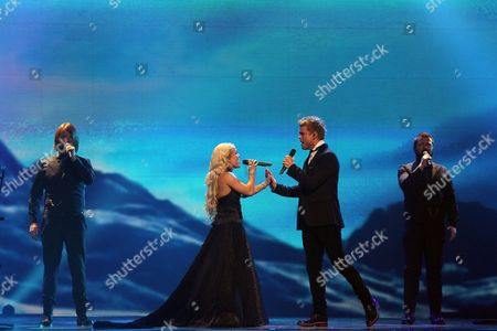 Greta Salome & Jonsi Representing Iceland Perform with the Song 'Never Forget' During the Grand Final of the Eurovision Song Contest 2012 in Baku Azerbaijan 26 May 2012 Twenty-six Contestants Compete For the Trophy of the 57th Eurovision Song Contest Azerbaijan Baku