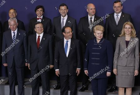 (l-r Front Row) Greek Prime Minister Panagiotis Pikrammenos European Commission President Jose Manuel Barroso French President Francois Hollande Lithuanian President Dalia Grybauskaite Danish Prime Minister Helle Thorning Schmidt with (l-r Back Row) Hungarian Prime Minister Viktor Orban Belgian Prime Minister Elio Di Rupo and Spanish Prime Minister Mariano Rajoy Swedish Prime Minister Fredrik Reinfeldt and Czech Prime Minister Petr Necas Take Their Positions For a Group Photo at the Informal Eu Summit in Brussels Belgium 23 May 2012 Eu Head of States Are Meeting in Brussels For an Informal Eu Summit on Economic Growth Which Marks French President Francois Hollande's Debut on the Eu Scene France is Expected to Push on the Issue of Eurobonds Which Has Put It at Loggerheads with Germany Belgium Brussels