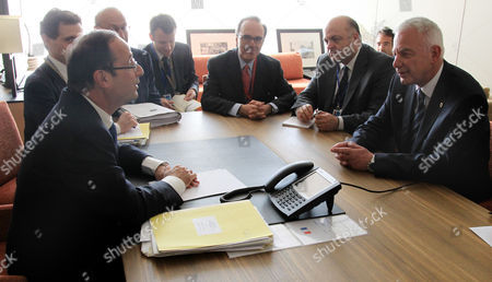 French President Francois Hollande (l) and Greek Prime Minister Panagiotis Pikrammenos (r) Are Seen During a Billateral Meeting Ahead of the Eu Summit in Brussels Belgium 23 May 2012 Others Are not Identified Eu Head of States Will Gather Later 23 May For an Informal Eu Summit on Economic Growth Which Will Mark French President Francois Hollande's Debut on the Eu Scene and Set the Stage For a Potential Clash Between His Push For Economic Growth and German Demands For Fiscal Prudence Belgium Brussels