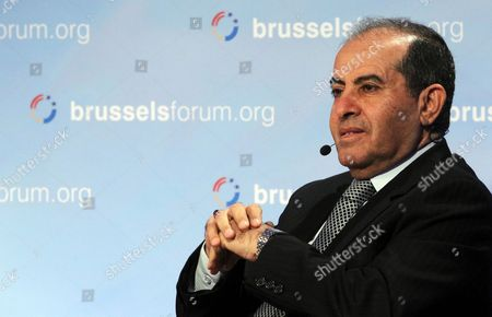 Stock Image of Mahmoud Gebril Libya Former Interim Prime Minister Gives a Speech During the 'Brussels Forum' Conference in Brussels Belgium 24 March 2012 the Brussels Forum is an Annual High-level Meeting of the Most Influential North American and European Political Corporate and Intellectual Leaders to Address Pressing Challenges Currently Facing Both Sides of the Atlantic Belgium Brussels