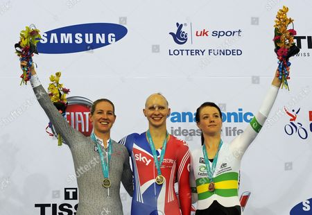 Joanna Rowsell (c) From Britain Smiles on the Podium After Winning the Women's Individual Pursuit Competition During the Uci Track Cycling World Cup in the New Olympic Velodrome in London Britain 18 February 2012 Rowsell Won Ahead of Second Placed Alison Shanks (l) From New Zealand and Third Placed Amy Cure (r) From Australia United Kingdom London