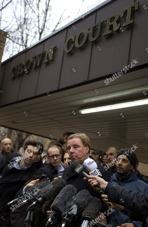 Tottenham Hotspur Manager Harry Redknapp (c) Speaks to Reporters Outside the Southwark Crown Court After His Tax Evasion Trial in London Britain 08 February 2012 Tottenham Manager Harry Redknapp was on 08 February Cleared of a Tax Evasion Charge After a Trial in London Lasting More Than Two Weeks Redknapp who Has Been Tipped As Next England Manager Had Denied Accepting Secret Untaxed Bonus Payments From Former Portsmouth Chairman Milan Mandaric While He was That Clubs Manager After the Verdict Redknapp Embraced Mandaric who was Also Cleared of Two Charges of Tax Evasion Redknapp was Accused of Cheating the Public Revenue in Relation to Payments Totalling 189 000 Pounds (about 300 000 Dollars) Made to His Bank Account in Monaco United Kingdom London