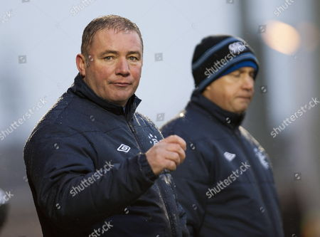 Glasgow Rangers Manager Ally Mccoist (l) and His Assistant Manager Kenny Mcdowell (r) Watch the Scottish Premier League Soccer Match Between Glasgow Rangers and Kilmarnock Fc at Ibrox Park in Glasgow Britain 18 February 2012 Kilmarnock Won 1-0 United Kingdom Glasgow