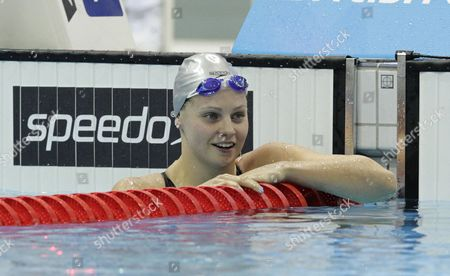 Britain's Ellen Gandy Smiles After Winning the Women's 100 Metre Butterfly at the British Gas Swimming Championships 2012 Olympic Test Event at the Aquatic Centre in the 2012 Olympic Park in London Britain 04 March 2012 United Kingdom London