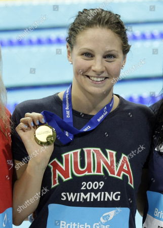 Britain's Ellen Gandy Displays Her Gold Medal After Winning the Women's 200 Metre Butterfly Final at the British Gas Swimming Championships 2012 Olympic Test Event at the Aquatic Centre in the 2012 Olympic Park in London Britain 07 March 2012 United Kingdom London