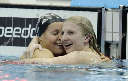 Britain's Rebecca Adlington [r] Celebrates Winning the Women's 400 Metre Freestyle Final with Fellow British Swimmer Joanne Jackson [l] who Finished Second at the British Gas Swimming Championships 2012 Olympic Test Event at the Aquatic Centre in the 2012 Olympic Park in London Britain 04 March 2012 United Kingdom London