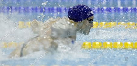 Britain's Francesca Halsall (r) Leads Compatriot Ellen Gandy (l) in the Women's 100 Metre Butterfly at the British Gas Swimming Championships 2012 Olympic Test Event at the Aquatic Centre in the 2012 Olympic Park in London Britain 04 March 2012 Gandy Eventually Won with Halsall Finishing Second United Kingdom London