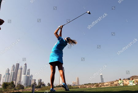 Us Golfer Alexis Thompson Hits a Tee Shot During Final Round at Omega Dubai Ladies Masters in Emirate Gulf of Dubai United Arab Emirates on 17 December 2011 United Arab Emirates Dubai
