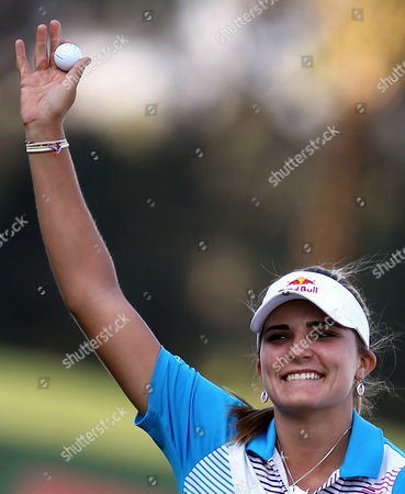 Us Golfer Alexis Thompson Celebrates After Winning the Final Round at Omega Dubai Ladies Masters in Dubai United Arab Emirates 17 December 2011 United Arab Emirates Dubai