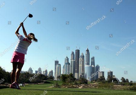 Us Golfer Alexis Thompson Hits a Tee Shot During the Third Round at Omega Dubai Ladies Masters in Dubai United Arab Emirates 16 December 2011 United Arab Emirates Dubai