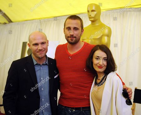 Stock Picture of (l-r) Jeroen Perceval Matthias Schoenaerts and Jeanne Dandoy From the Belgian Film 'Bullhead' Pose For Photographers During the 84th Annual Academy Awards Foreign Film Award Nominees Event Outside the Kodak Theatre in Hollywood California Usa 24 February 2012 the Academy Awards Will Be Held 26 February 2012 United States Hollywood