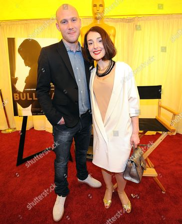 Stock Image of Jeroen Perceval (l) and Jeanne Dandoy From the Belgian Film 'Bullhead' Pose For Photographers During the 84th Annual Academy Awards Foreign Film Award Nominees Event Outside the Kodak Theatre in Hollywood California Usa 24 February 2012 the Academy Awards Will Be Held 26 February 2012 United States Hollywood