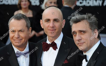 Israeli Actor Shlomo Bar-aba (l) Israeli Director Joseph Cedar (c) and Israeli Actor Lior Ashkenazi (r) Arrive For the 84th Annual Academy Awards at the Hollywood and Highland Center in Hollywood California Usa 26 February 2012 the Oscars Are Presented For Outstanding Individual Or Collective Efforts in Up to 24 Categories in Filmmaking United States Hollywood
