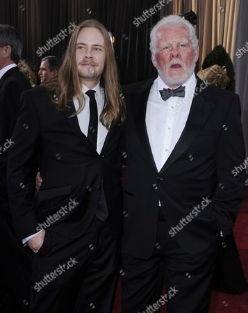 Stock Photo of Us Actor Nick Nolte (r) and Brawley Nolte (l) Arrive For the 84th Annual Academy Awards at the Hollywood and Highland Center in Hollywood California Usa 26 February 2012 the Oscars Are Presented For Outstanding Individual Or Collective Efforts in Up to 24 Categories in Filmmaking United States Hollywood