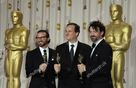 Stock Photo of (l - R) Visual Effects Supervisor Alex Henning Us Director and Visual Effects Coordinator Rob Legato and Visual Effects Supervisor Ben Grossman with Their Oscars For Achievement in Visual Effects For 'Hugo' at the 84th Annual Academy Awards at the Hollywood and Highland Center in Hollywood California Usa 26 February 2012 the Oscars Are Presented For Outstanding Individual Or Collective Efforts in Up to 24 Categories in Filmmaking United States Hollywood