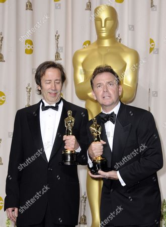 Stock Image of Phil Stockton (l) and Eugene Gearty (r) Hold the Oscar For Achievement in Sound Editing For 'Hugo' During the 84th Annual Academy Awards at the Hollywood and Highland Center in Hollywood California Usa 26 February 2012 the Oscars Are Presented For Outstanding Individual Or Collective Efforts in Up to 24 Categories in Filmmaking United States Hollywood