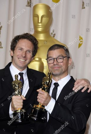 Kirk Baxter (l) and Angus Wall (r) Hold the Oscar For Achievement in Film Editing For 'The Girl with the Dragon Tattoo' During the 84th Annual Academy Awards at the Hollywood and Highland Center in Hollywood California Usa 26 February 2012 the Oscars Are Presented For Outstanding Individual Or Collective Efforts in Up to 24 Categories in Filmmaking United States Hollywood