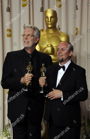 Us Make-up Artist J Roy Helland (l) and British Make-up Artist and Special Effects Designer Mark Coulier Hold Their Oscars For Achievement in Make Up For 'The Iron Lady' at the 84th Annual Academy Awards at the Hollywood and Highland Center in Hollywood California Usa 26 February 2012 the Oscars Are Presented For Outstanding Individual Or Collective Efforts in Up to 24 Categories in Filmmaking United States Hollywood