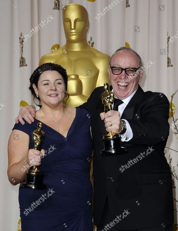 Irish Filmmakers Terry (r) and Oorlagh George (l) Hold the Iscar For Best Live Action Short Film For 'The Shore' During the 84th Annual Academy Awards at the Hollywood and Highland Center in Hollywood California Usa 26 February 2012 the Oscars Are Presented For Outstanding Individual Or Collective Efforts in Up to 24 Categories in Filmmaking United States Hollywood